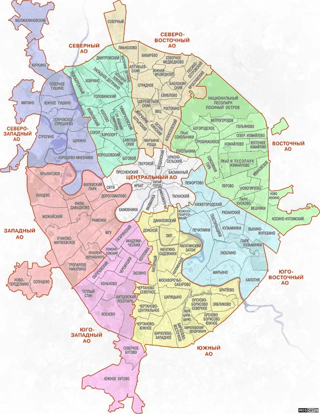 Карта Москвы - Деление на Районы